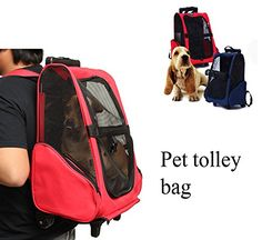 Pet Carrier Dog Cat Rolling Backpack Travel Backpack Trolley For Dogs And Cats Portable Luggage Bag -- Check out the image by visiting the link. (This is an affiliate link) #CatCarriersandStrollers