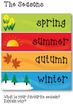 The Seasons Chart Learning English For Kids, English Lessons For Kids, English Language Learning, Teaching English, Learn English, Teaching Spanish, French Language, Preschool Learning Activities, Preschool Worksheets