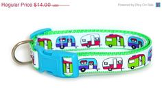 ON SALE Dog Collar  Retro Trailers  Made to Order $12.60