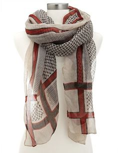 Abstract Stripe Lightweight Scarf: Charlotte Russe