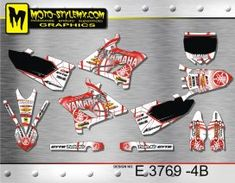 White and red full graphics kit for Yamaha YZ 250 including black number plate backgrounds Yamaha Yz 125, Custom Design, Decals, Graphics, Kit, Bespoke Design, Tags, Charts, Graphic Design