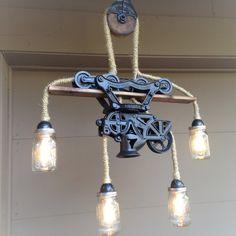 Steampunk Light Chandelier Hay Trolley Mason by RareRusticRelics