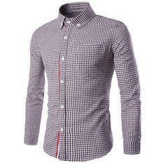Slimming Braid Spliced One Pocket Shirt Collar Long Sleeves Men's Plaid Shirt