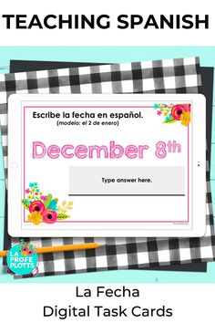 These interactive La Fecha Digital Task Cards for Google™ Slides are for anyone looking to reinforce students' understanding of days of the week, months of the year, and the date in Spanish in a fun, digital format. Students will be engaged and get a great review of los días de la semana, los meses del año y la fecha as they work their way through the 50 Google Slides™. Please see the preview for a sample of the cards included. #SpanishDigitalTaskCards #DistanceLearning