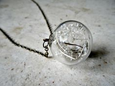 Pretty cool terrarium glass pendant! // The glass encases preserved, sun-bleached baby's breath or moss.
