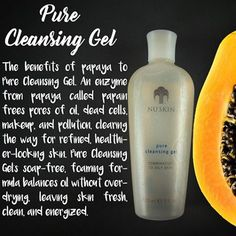 PURE CLEANSING GEL  Good for Combination to Oily Skin  A cleanser that contains papain an enzyme from papaya that frees pore of oil, dead skin cells and dirt.  Clinical SKIN CARE without the clinic.  #papain   #cleanser   #allnatural   #nuskinph