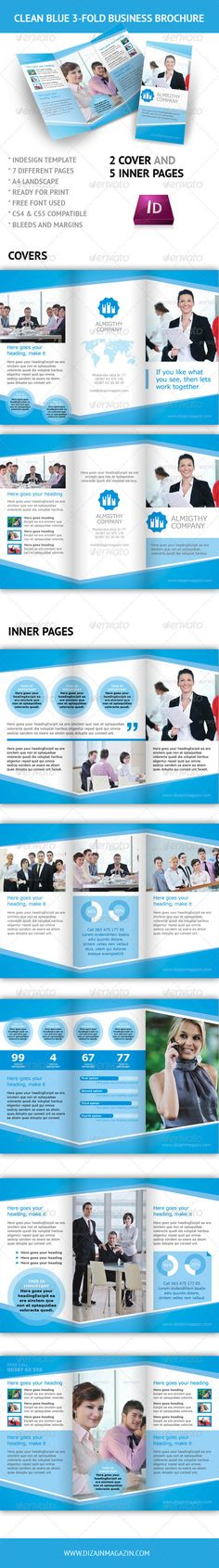 Clean Blue 3-fold Business Brochure - InDesign
