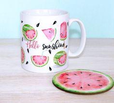 Hello Sunshine Watermelon Mug And Coaster, Statement Mug, Inspirational Quote…