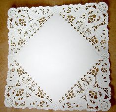 Square Paper Doilies  50 doilies  8 inch white by owlandthistle, $8.25  Perfect for envelopes