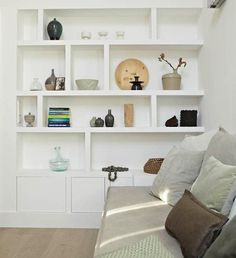 Gorgeous Built-ins, different heights and asymmetric