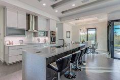 Modern kitchen with white quartz backsplash countertops wood veneer island Quartz Tiles, Quartz Backsplash, Quartz Slab, Quartz Countertops, Kitchen Backsplash, Modern Kitchen Design, Kitchen Designs, Small Tiles, Functional Kitchen