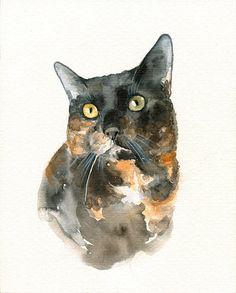 CUSTOM PORTRAIT of your PET - Cat Artwork - Original Watercolor Painting only $27!