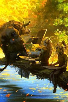 Tauren & Blood Elves painting ~ The World of Warcraft ~ Quite the game.
