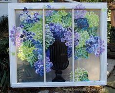 Good idea if you have an un sightly view. Old Windows Painted, Painted Window Panes, Window Pane Art, Painting On Glass Windows, Glass Painting Designs, Vintage Windows, Paint Designs, Window Screens, Wooden Windows