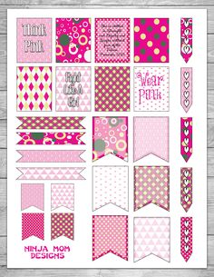 Free Breast Cancer Awareness Planner Stickers