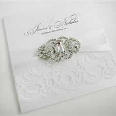 Brooch Embellished Lace Wedding Invitations