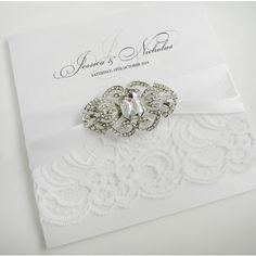 Brooch Embellished Lace Wedding Invitations