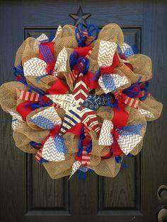 AMERICAN COUNTRY BURLAP Mesh Wreath