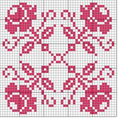 Cross Stitch Borders, Cross Stitch Flowers, Cross Stitch Designs, Cross Stitching, Cross Stitch Embroidery, Cross Stitch Patterns, Crochet Motifs, Crochet Diagram, Filet Crochet
