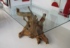 driftwood table, if it were a little larger so the glass fit it more it'd be perfect