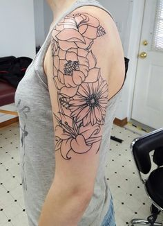 My flower tattoo half sleeve! Rose, lotus, daisy, and a lily.