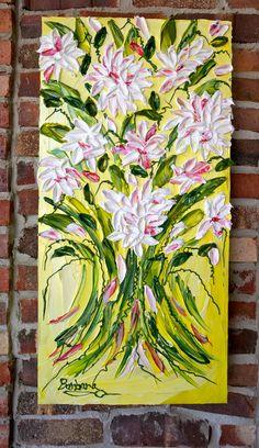 Maya's Dahlias - an impasto original by Barbara Scharpf of Creative Womanhood. #impasto #dahlias #colorful #spring