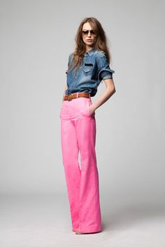 I just bought (lighter) pink bell bottoms--and this is how I will wear them.