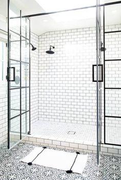 Steel-paned shower doors