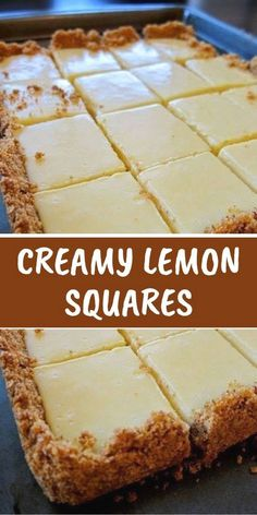CREAMY LEMON SQUARES The lemon bars of your dreams take just 15 minutes of prep: Stir together a mere three ingredients to create a sunny, puckery filling for a buttery shortbread crust. FOR THE CRUST 4 tablespoons butter, melted and cooled, plus Lemon Desserts, Köstliche Desserts, Lemon Recipes, Sweet Recipes, Baking Recipes, Cookie Recipes, Yummy Recipes, Meal Recipes, Drink Recipes