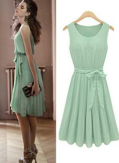 Green Day Dress - Sleeveless Bowknot Belt Pleated Dress