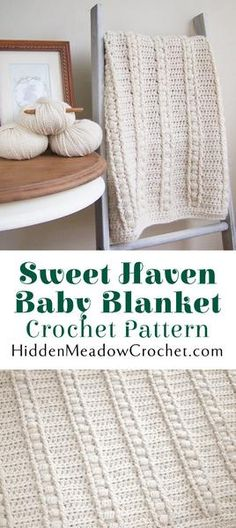 Sweet Haven Baby Blanket Crochet Pattern by HiddenMeadowCrochet.com