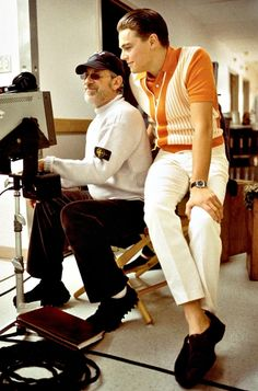 Leonardo DiCaprio and Steven Spielberg on set of Catch Me If You Can