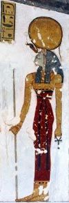 The goddess Bast from the tomb of Mentuherkhepeshef - this is a rare painted rendition of her with the head of a house cat.