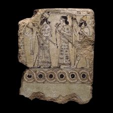 Glazed terracotta tile  Neo-Assyrian, about 883-859 BC  From Nimrud (ancient Kalhu), northern Iraq  [British Museum]