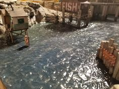 This is an easy and fun way to create a water scene with some waves or current o. - This is an easy and fun way to create a water scene with some waves or current on your model train layout! If you're making diorama water, read this first! How To Make Water, Making Water, Model Training, Train Table, Ho Trains, Model Train Layouts, Christmas Villages, Train Set, Decoration