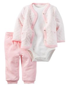 3-Piece Quilted Cardigan Set | Carters.com on sale $18