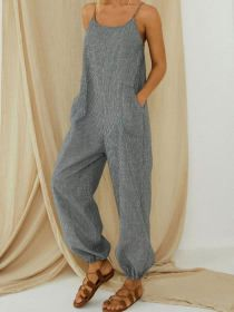 Casual Jumpsuit, Striped Jumpsuit, Backless Jumpsuit, Casual Pants, Mode Pop, Overalls Women, Mode Style, Stripe Print, Types Of Sleeves