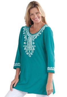 Women's Plus Size Tunic, with embroidered kurta ap...($32.99)