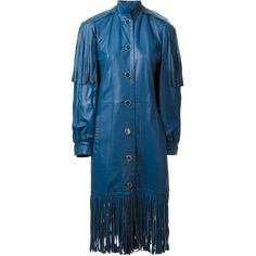 Christian Dior Vintage long fringed coat ($1,516) ❤ liked on Polyvore featuring outerwear, coats, dresses, blue, long leather coat, leather fringe coat, long vintage coat, long sleeve coat and stand collar coat