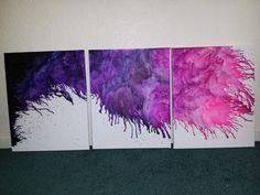 Original Abstract crayon drip 3 piece encaustic by ChelseaDelic, $120.00