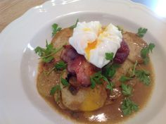 Kohlrabi with Bacon, Poached Egg and Parsley