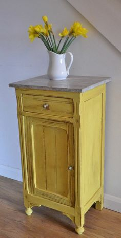 Chalk Paint® in English Yellow by Annie Sloan with Clear and Dark Wax to bring out the details. If only I was brave enough to have a yellow piece of furniture. Redo Furniture, Diy Furniture, Painted Furniture, Home Decor, Repurposed Furniture, Chalk Paint Furniture, Paint Furniture, Furniture Inspiration, Furnishings