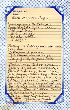 Sock It To Me Cake. 2 teaspoon cinnamon 2 tablespoon brown sugar 1 c. Retro Recipes, Old Recipes, Vintage Recipes, Cooking Recipes, Recipies, Amish Recipes, Cinnamon Recipes, Blender Recipes, Cooking Videos