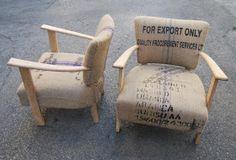 La Tapicera: Butacas tapizadas con sacos de café