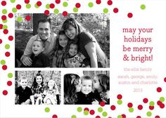 Red and Green Confetti Holiday Photo Cards @studioNotes