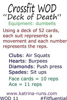 Crossfit deck of death-this looks like a good way to get in an interesting workout. Could even switch up the moves and as you get more advanced double the reps of each card. Crossfit Wods, Crossfit At Home, Crossfit Exercises, Crossfit Baby, Fitness Tips, Fitness Motivation, Health Fitness, Men Health, Muscle Fitness