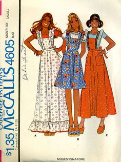 Pinafore Pattern, 1975 our choral group in high school used this pattern as our dress that we preformed in. And it was in red gingham. My mom made mine! Vintage Dress Patterns, Clothing Patterns, Vintage Dresses, Vintage Outfits, Fashion Sewing, 70s Fashion, Vintage Fashion, Pinafore Pattern, Patron Vintage