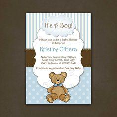 Neutral Teddy Bear Baby Shower Invitations Tarjetas Pinterest