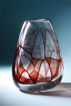 Vase, Colora. Designed by Vicke Lindstrand for Kosta, Sweden. 1950's.