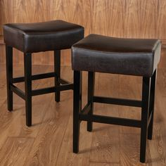 Furniture Backless Counter Stools For Your Kitchen Design Ideas: Cool Dark Brown Backless Counter Stools With Wooden Floor For Kitchen Decor